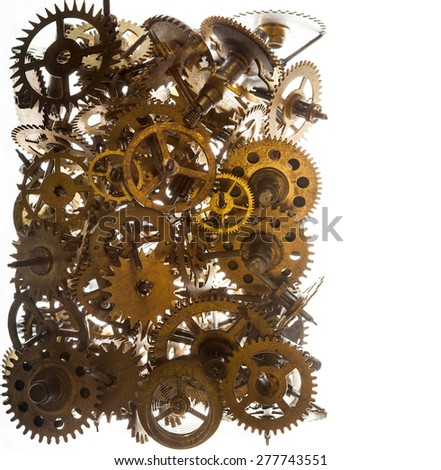 Old watch gears background isolated on the white - stock photo