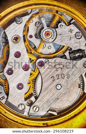 old watch gears very close up - stock photo