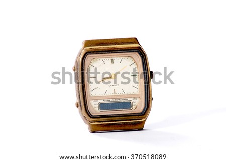 Old watch on white background - stock photo