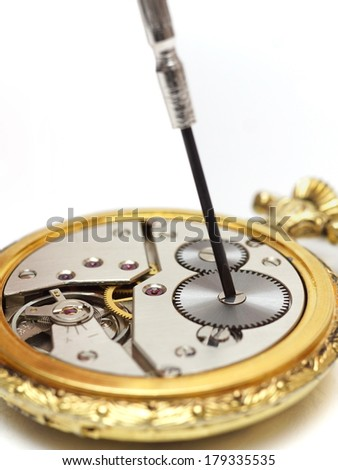 old watch repair - stock photo