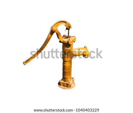 Old Water-Pump Tool Isolated On Yellow Background