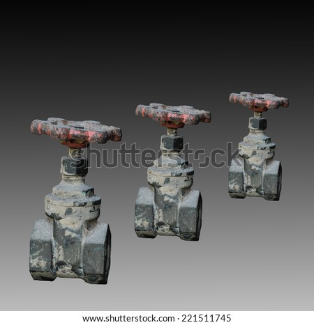 Old Water valve on two tone background - stock photo