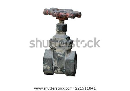 Old Water valve on white background - stock photo