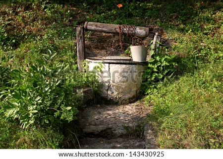 old water well. rural scenery