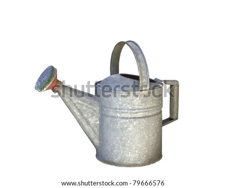 Old Watering Can Isolated on White - stock photo