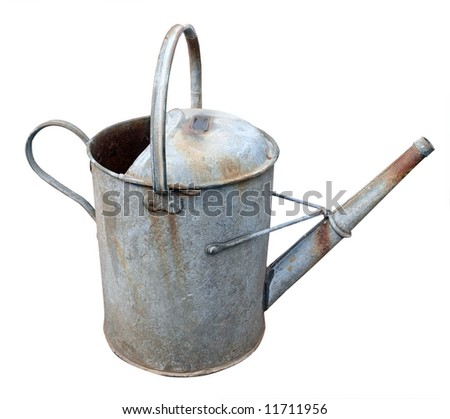 Old watering Can isolated with clipping path - stock photo