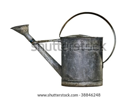 Old watering can with clipping path - stock photo