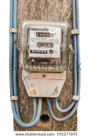 Old watthour Meter on white background