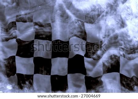 old wavy checkered flag - stock photo