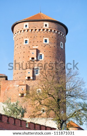 old wawel castle tower in town Krakow Poland