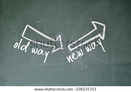 old way and new way sign on blackboard - stock photo