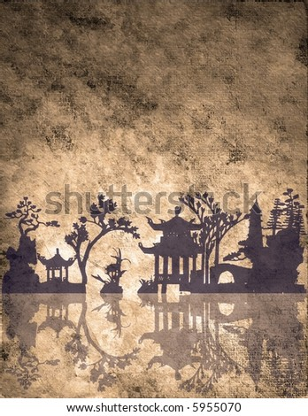 Old weathered Asian Landscape - stock photo
