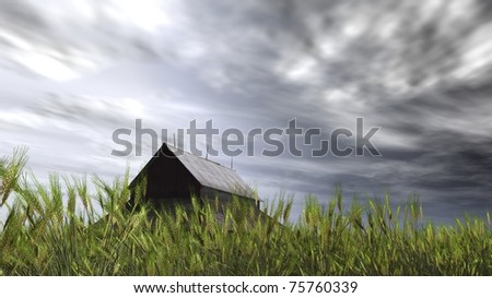 Old weathered barn in a field of wheat. Three lighting rods on the roof. Rain clouds swirl over the farm land. Low wide angle view.Original Illustration - stock photo