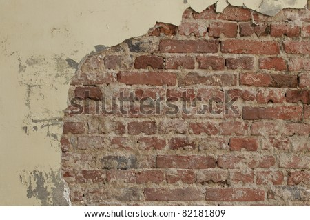 Old weathered brick wall texture - stock photo