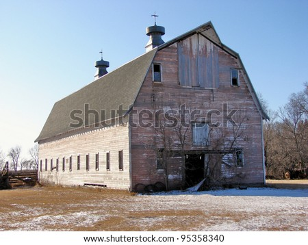 old weathered farm building - stock photo