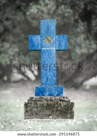 Old weathered gravestone in the cemetery - Oklahoma - stock photo