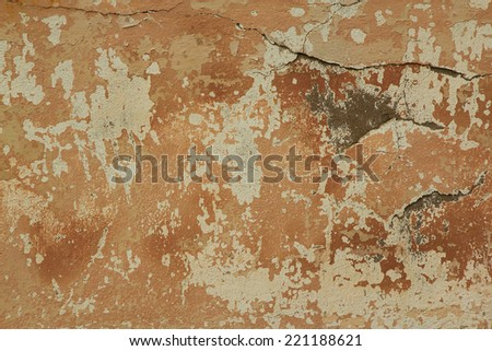 Old weathered plaster Wall. The photo was taken on the Kola Peninsula in the abandoned village. - stock photo