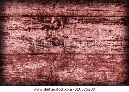 Old Weathered, Rotten, Cracked Planking, Bleached and Stained Red, Vignette Grunge Texture Detail. - stock photo