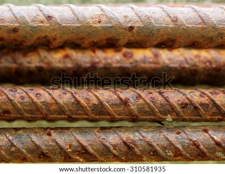 old weathered rustic construction steel rods for concrete construction reinforcement work - stock photo