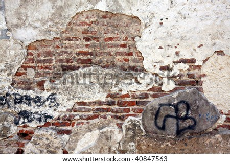 Old weathered wall for grunge background - stock photo