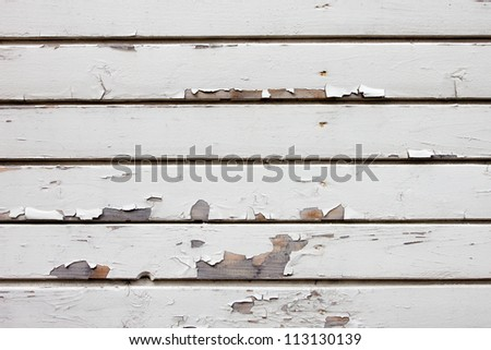 Old weathered white wood wall background - stock photo