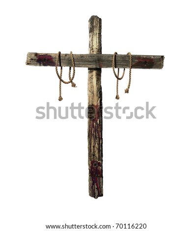 Old weathered wooden cross with blood and tie ropes representative of the cross that was used during the crucifixion of Jesus Christ. - stock photo