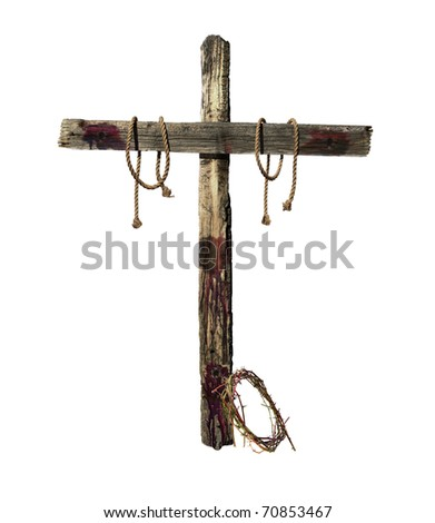 Old weathered wooden cross with blood, tie ropes and a crown of thorns representative of the cross that was used during the crucifixion of Jesus Christ.
