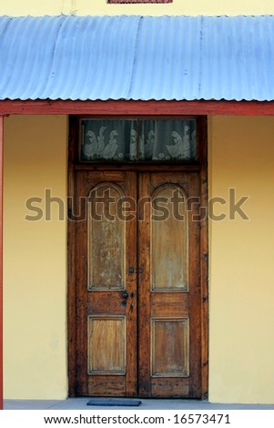 Old weathered wooden doors