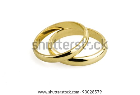 old wedding rings (clipping path ) - stock photo