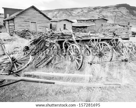 Old West, Ghost Town, Cody, Wyoming, United States, black and white version - stock photo