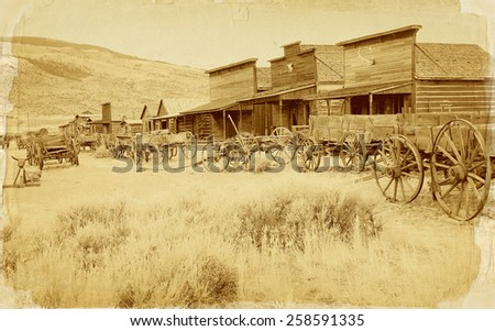 Old west, Old trail town, Cody, Wyoming, United States, vintage postcard version - stock photo