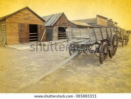 Old west, Old trail town, Cody, Wyoming, United States, vintage version - stock photo