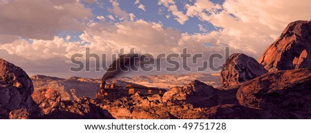 Old West Train Rolling Through Utah - stock photo