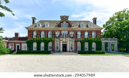 Old Westbury, New York - July 3, 2015: Long Island Gold Coast Mansion at Old Westbury Gardens - stock photo