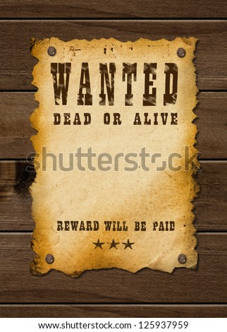 Old western sign, on wooden background. - stock photo