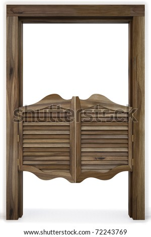 Old Western Swinging Saloon Doors. isolated on white. - stock photo