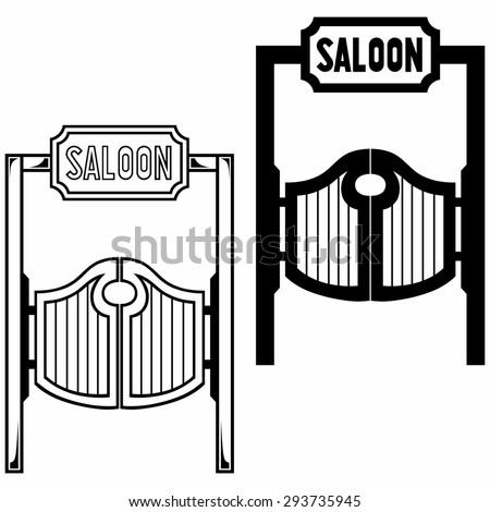 Old western swinging saloon doors. Isolated on white background. Raster version - stock photo
