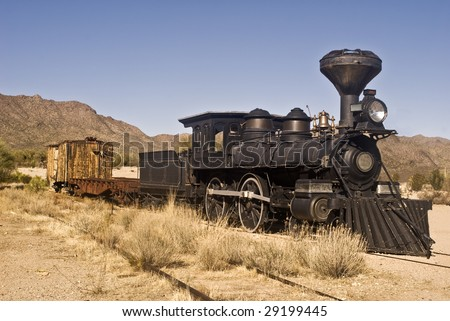 Old Western Train outside Tucson, Arizona - stock photo