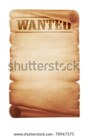 Old western wanted sign - stock photo