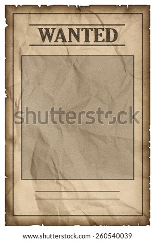 Old western wanted sign isolated on white background, clipping path. - stock photo