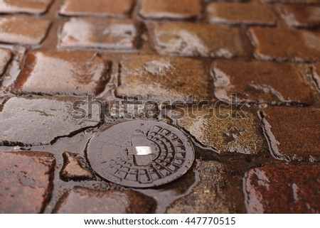 Old wet cobblestone in the rain