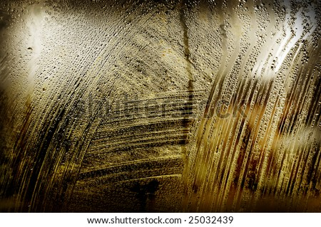Old wet dirty window background - stock photo