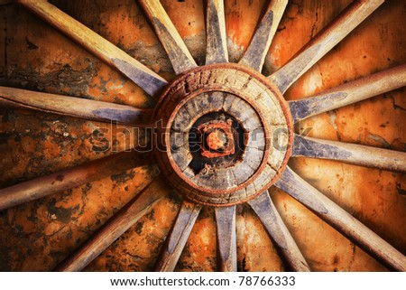 Old wheel cart - stock photo