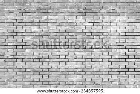Old white brick wall background and texture - stock photo