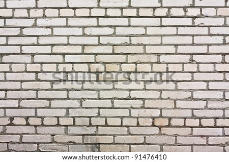 Old white brick-wall close up background. - stock photo