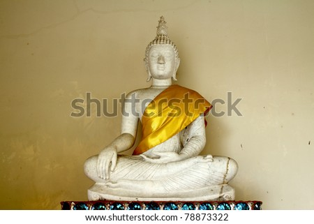 Old white Buddha Statue in Temple,  Thailand