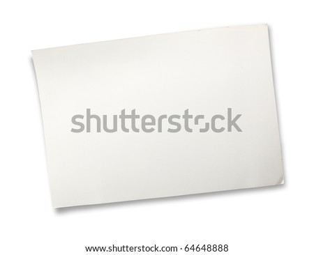 old white card board isolated on white. - stock photo