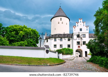 Old white castle in Lower Bavaria by Munich - stock photo