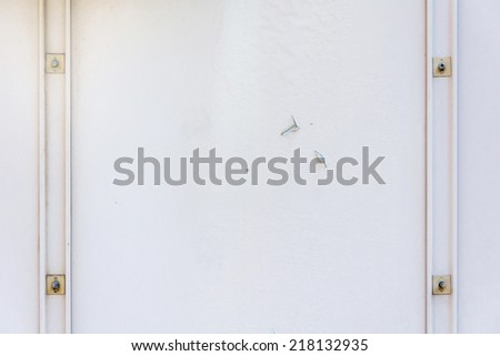 Old white colored metal texture with screws