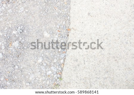 Old White Dirty Plaster Mortar road With Cracked Between rock stone Structure Horizontal Empty Grunge Texture Background